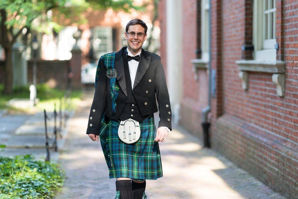 Groom's attire by USA Kilts