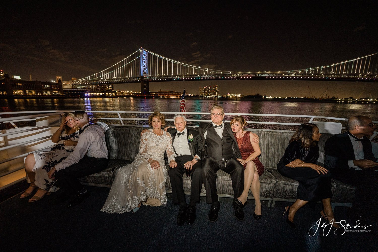 ben franklin at night yacht wedding spirit of philly bride and groom