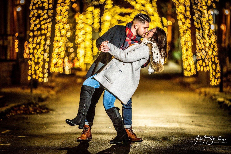 addison street philadelphia lights engagement photo