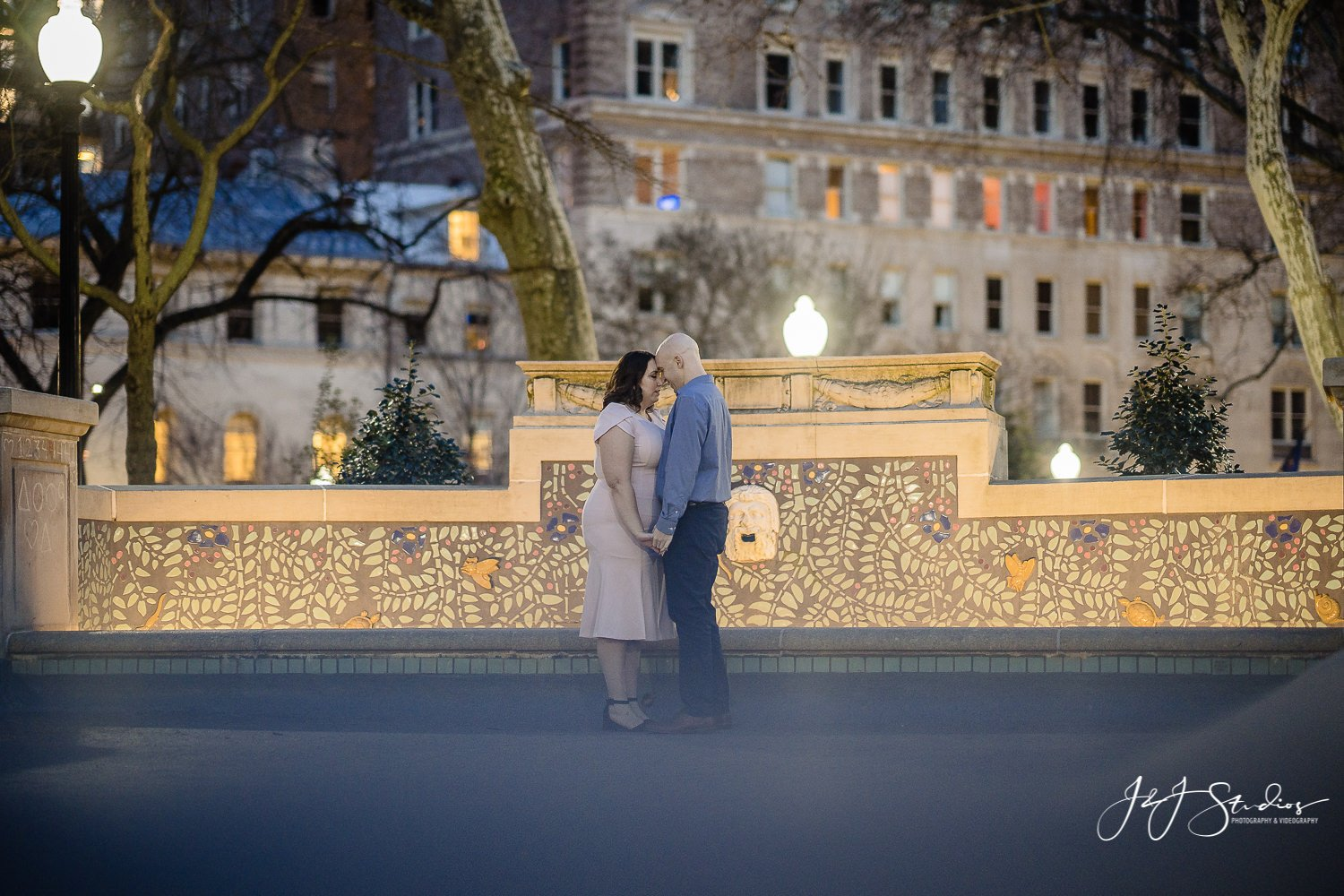rittenhouse square night engagement session
