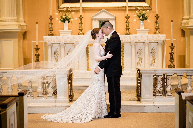 wedding dress veil in church philly