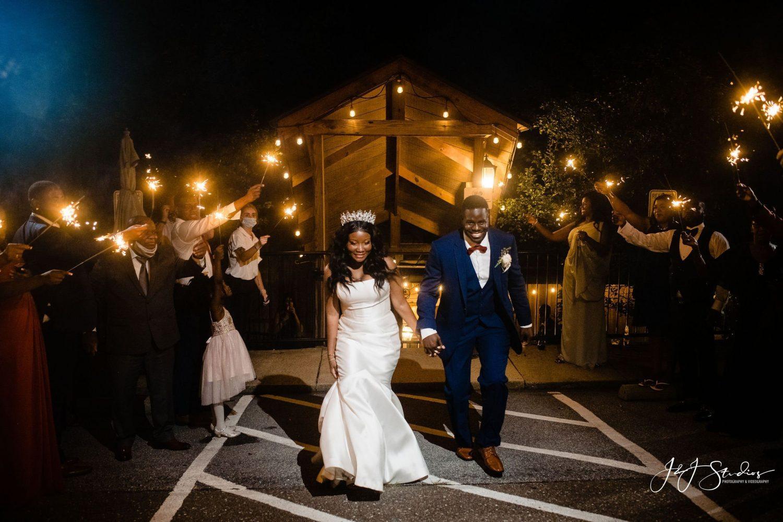bride groom lights sparklers newlyweds honeymoon