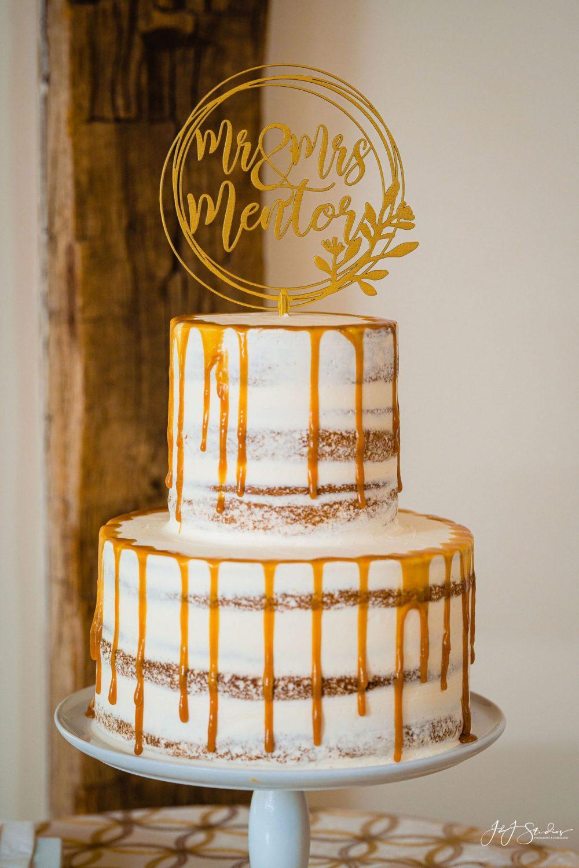 wedding cake two tier dripping naked cake wedding
