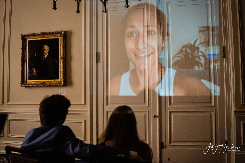 projector screen friends couple