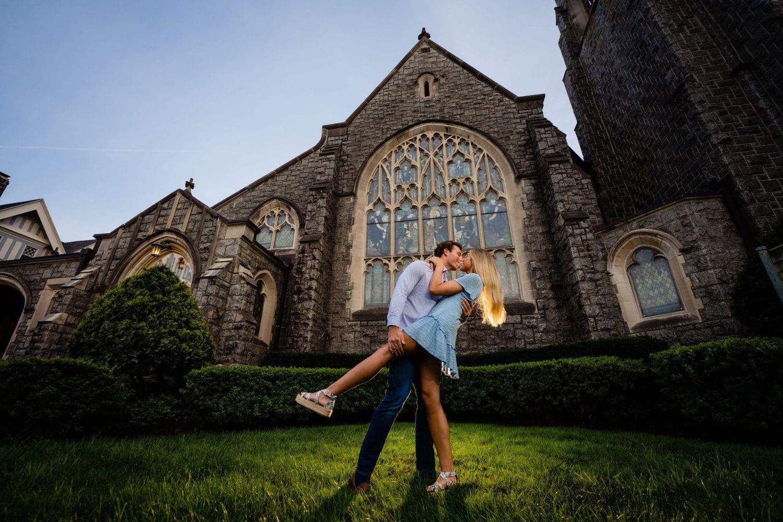 First Presbyterian Church NK guy dipping girl blue dress engaged
