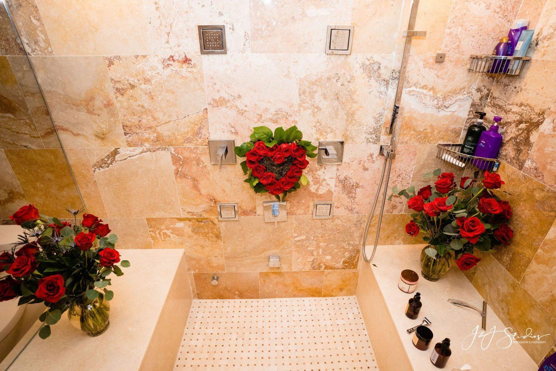 roses in walkin shower
