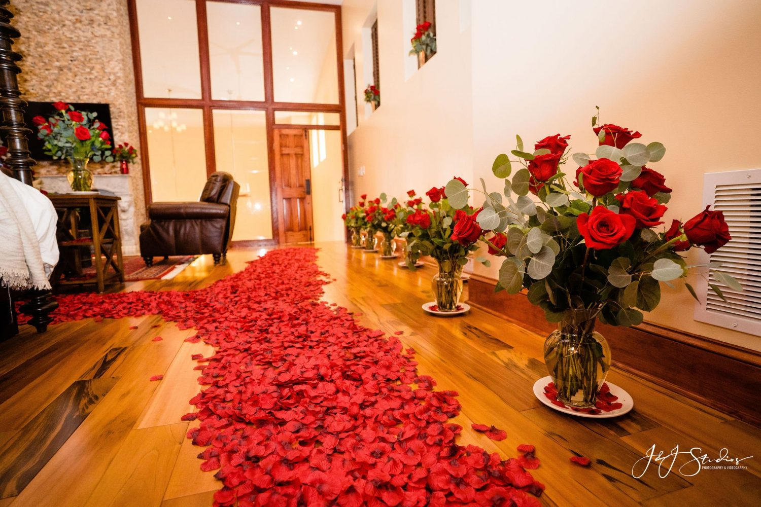 thousands of rose petals in house