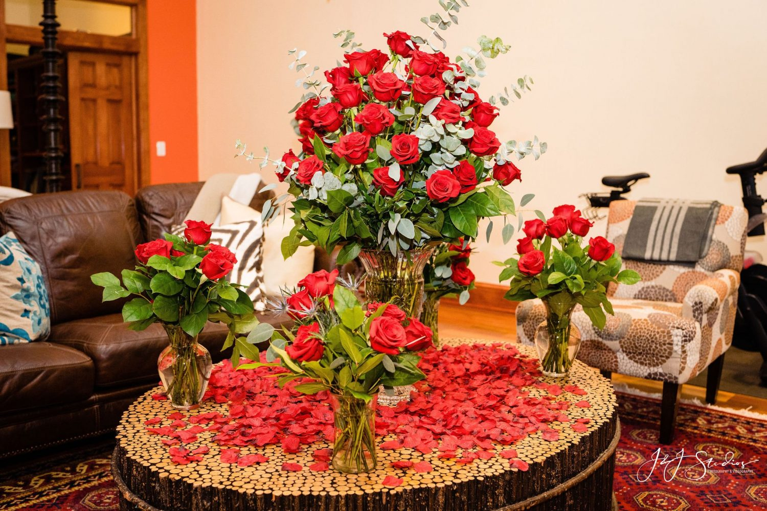 tons of roses and rose petals on table