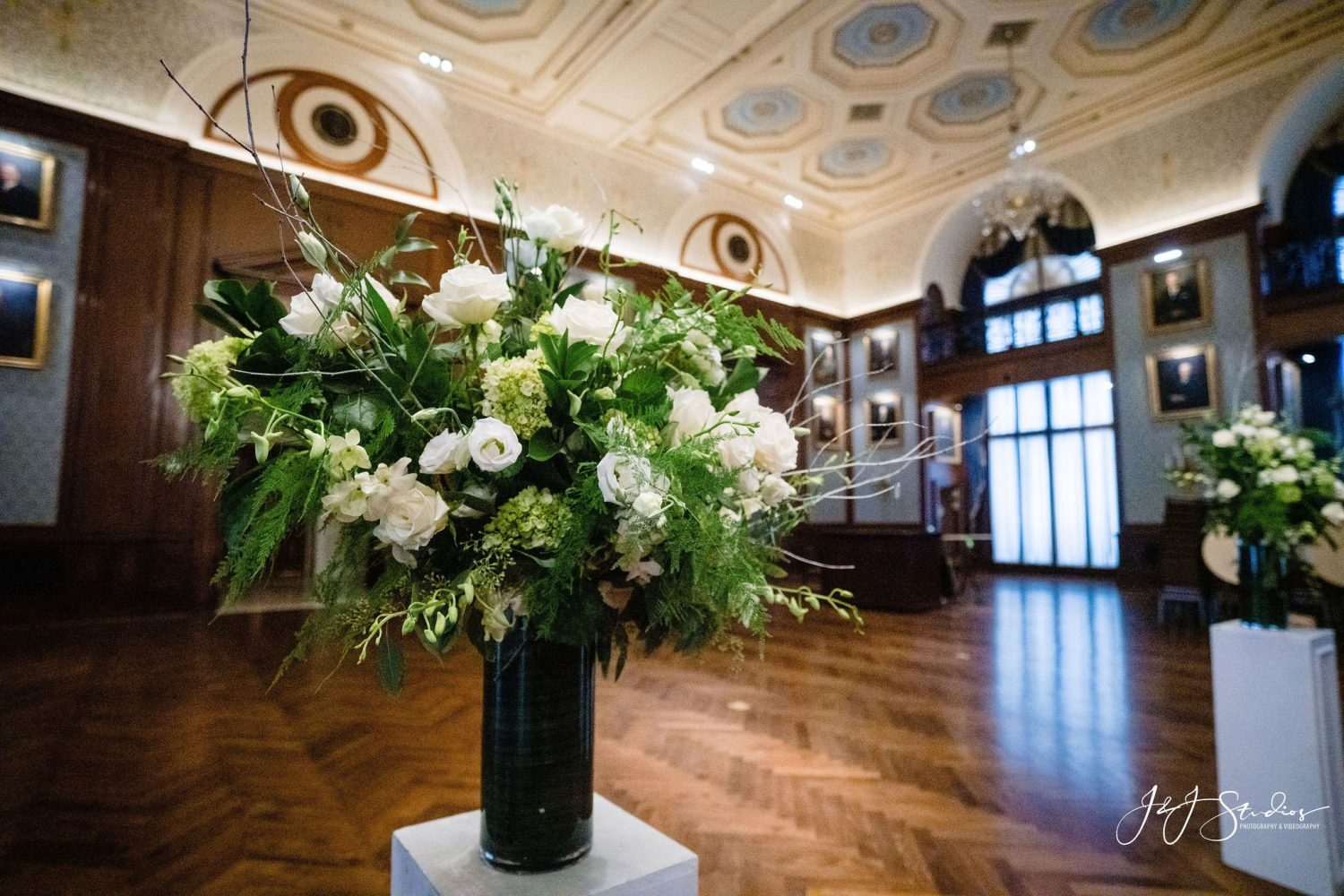 beautiful white bouquet large room