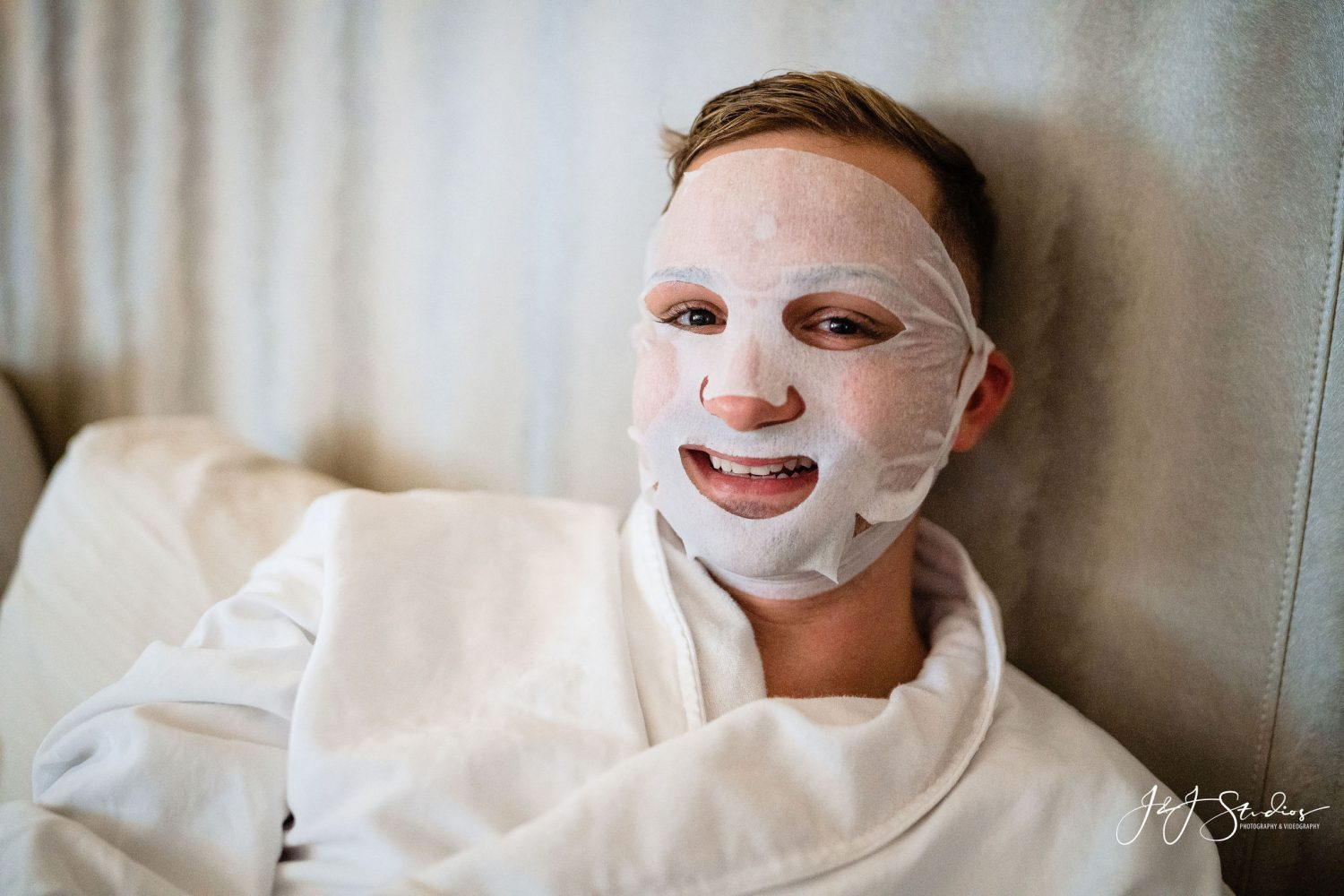 face mask on man spa