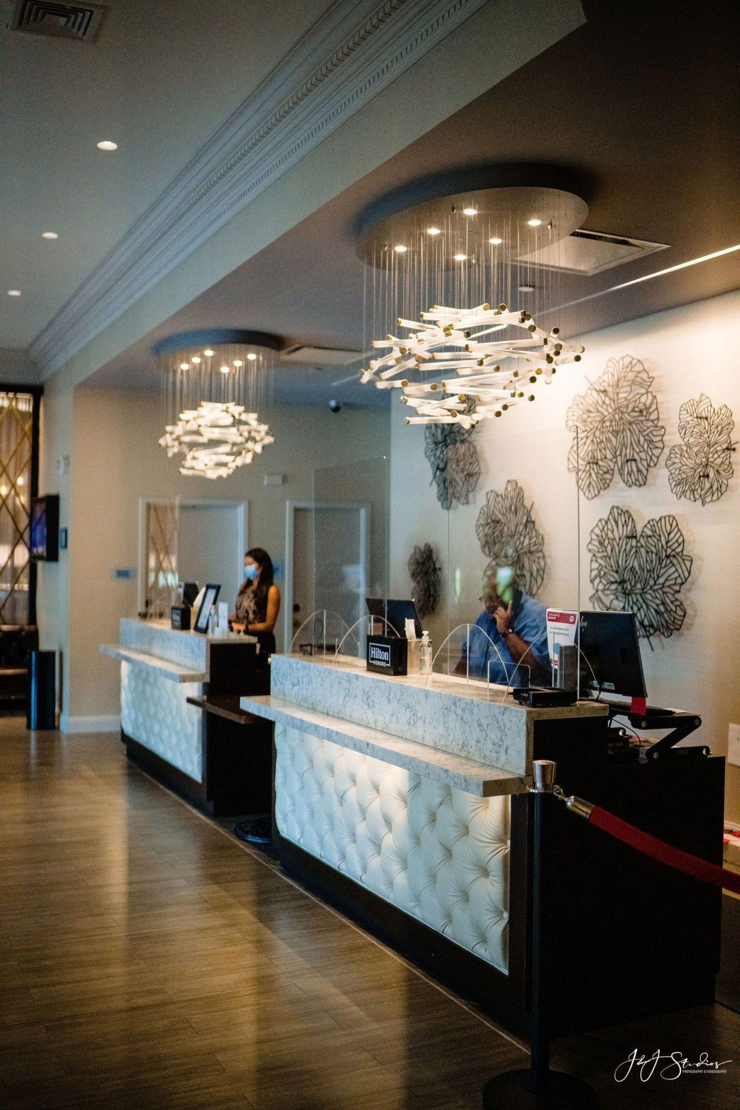 Hilton Wilmington reception desk area
