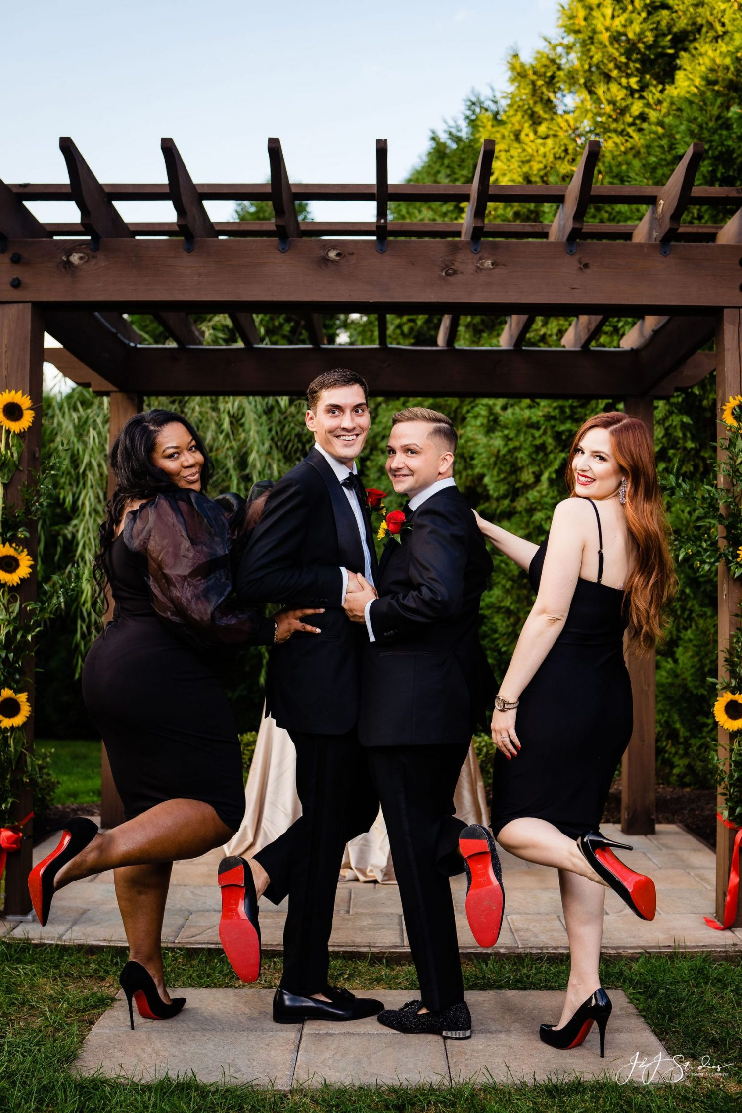 red bottom wedding shoes friends wearing black