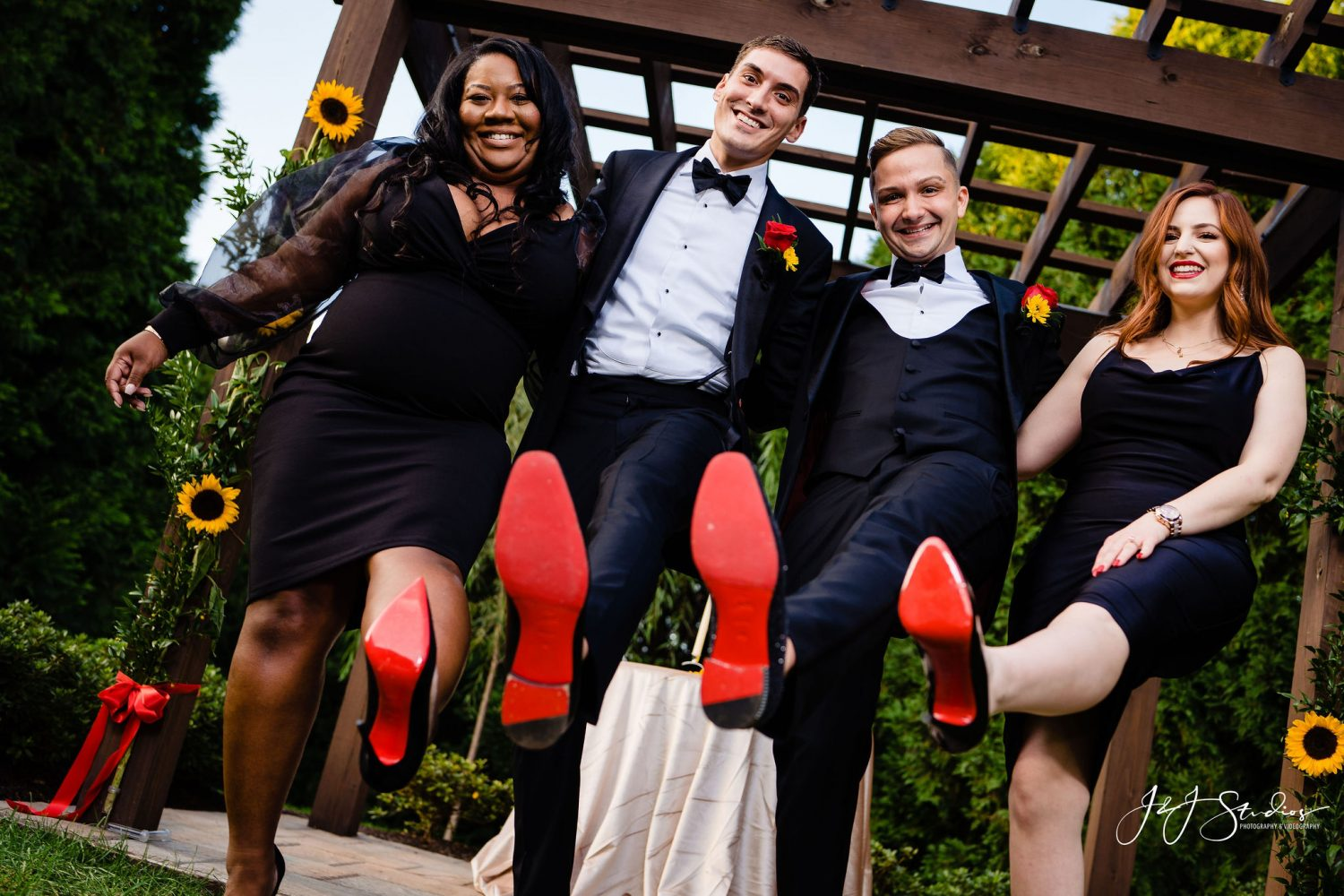 red bottom shoes wedding party