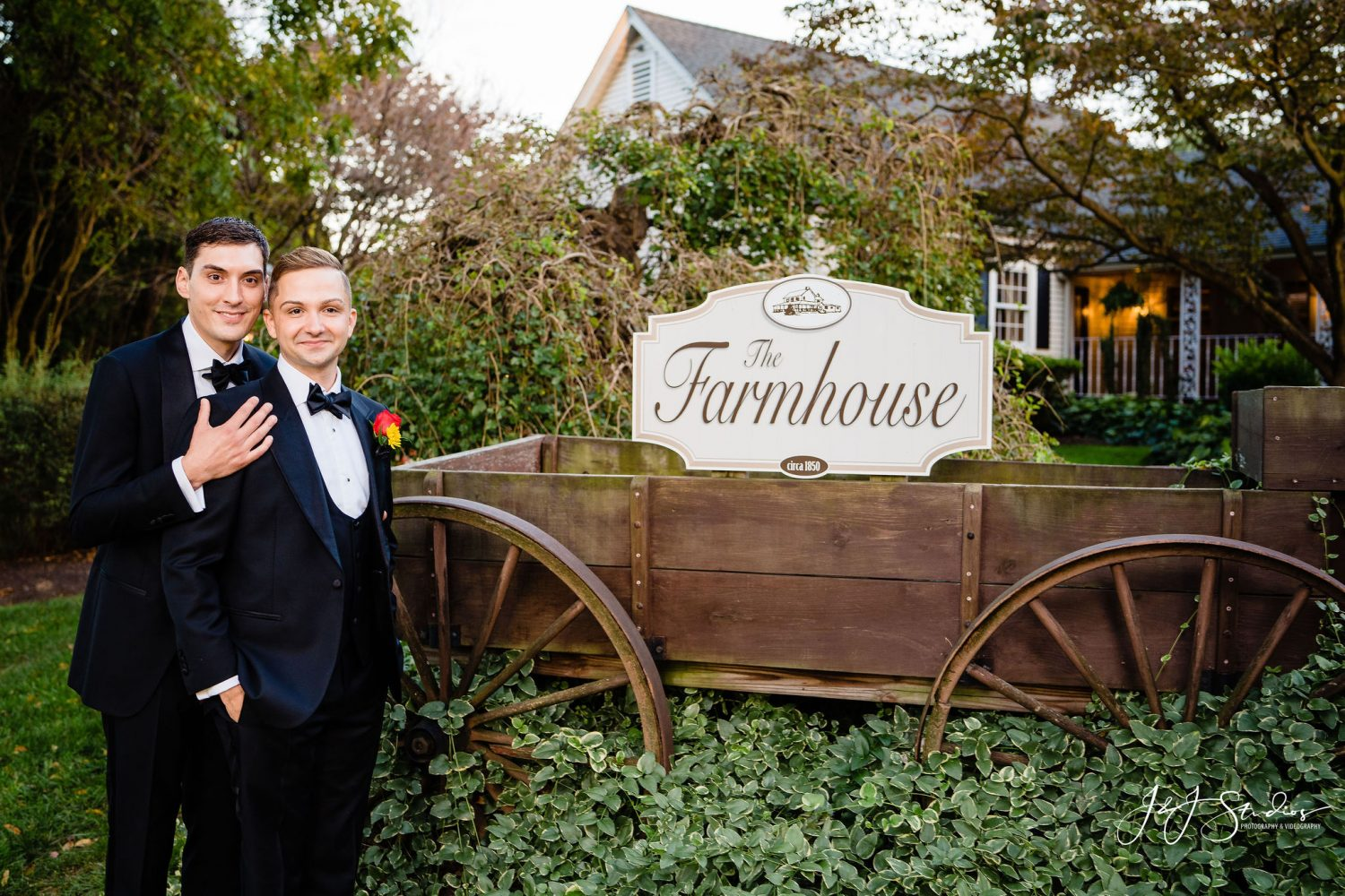 the farmhouse wedding two grooms gay couple newlyweds
