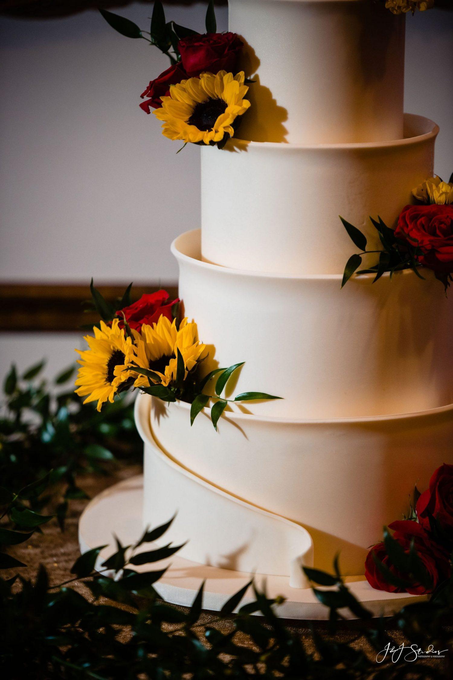 sunflower rose white wedding cake