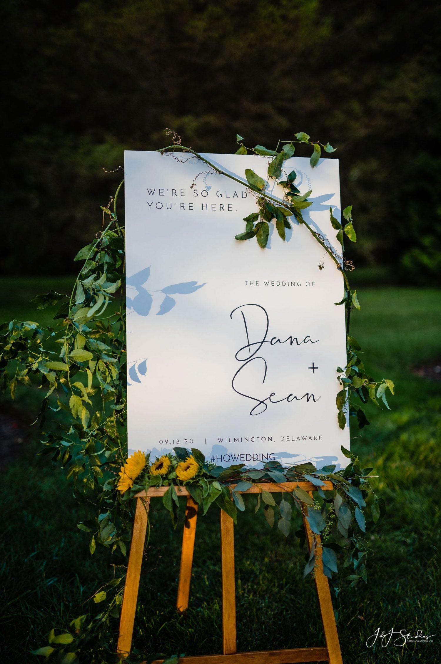 wedding ceremony sign Dana and Sean