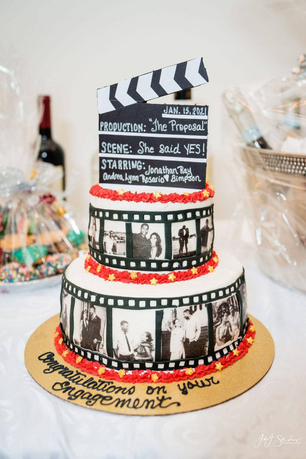 movie engagement cake