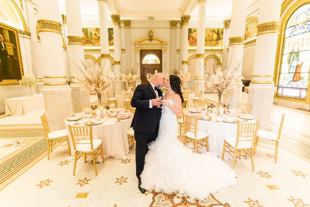 Bride and Groom romantic kiss