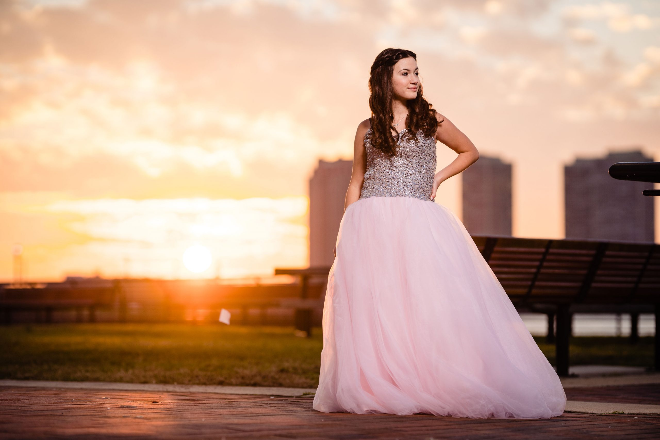 Stunning girl.in pink dress