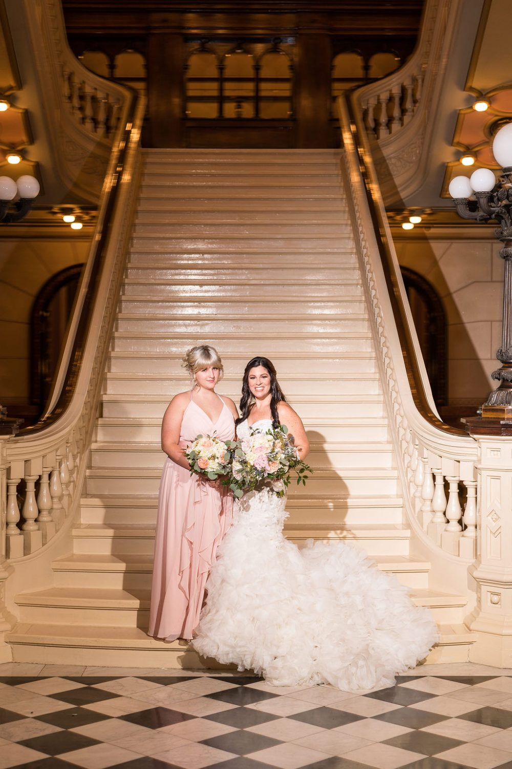 Bride and Maid of Honor One North Broad Wedding
