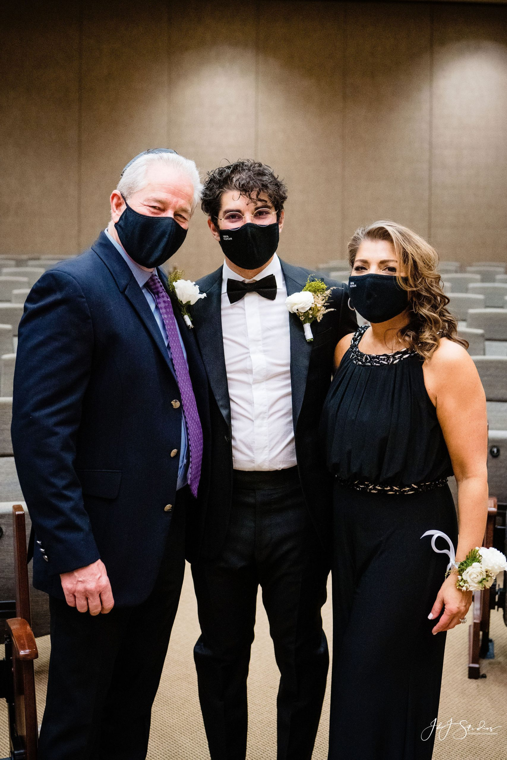 Groom and his parents at Congregation Beth El Wedding Session