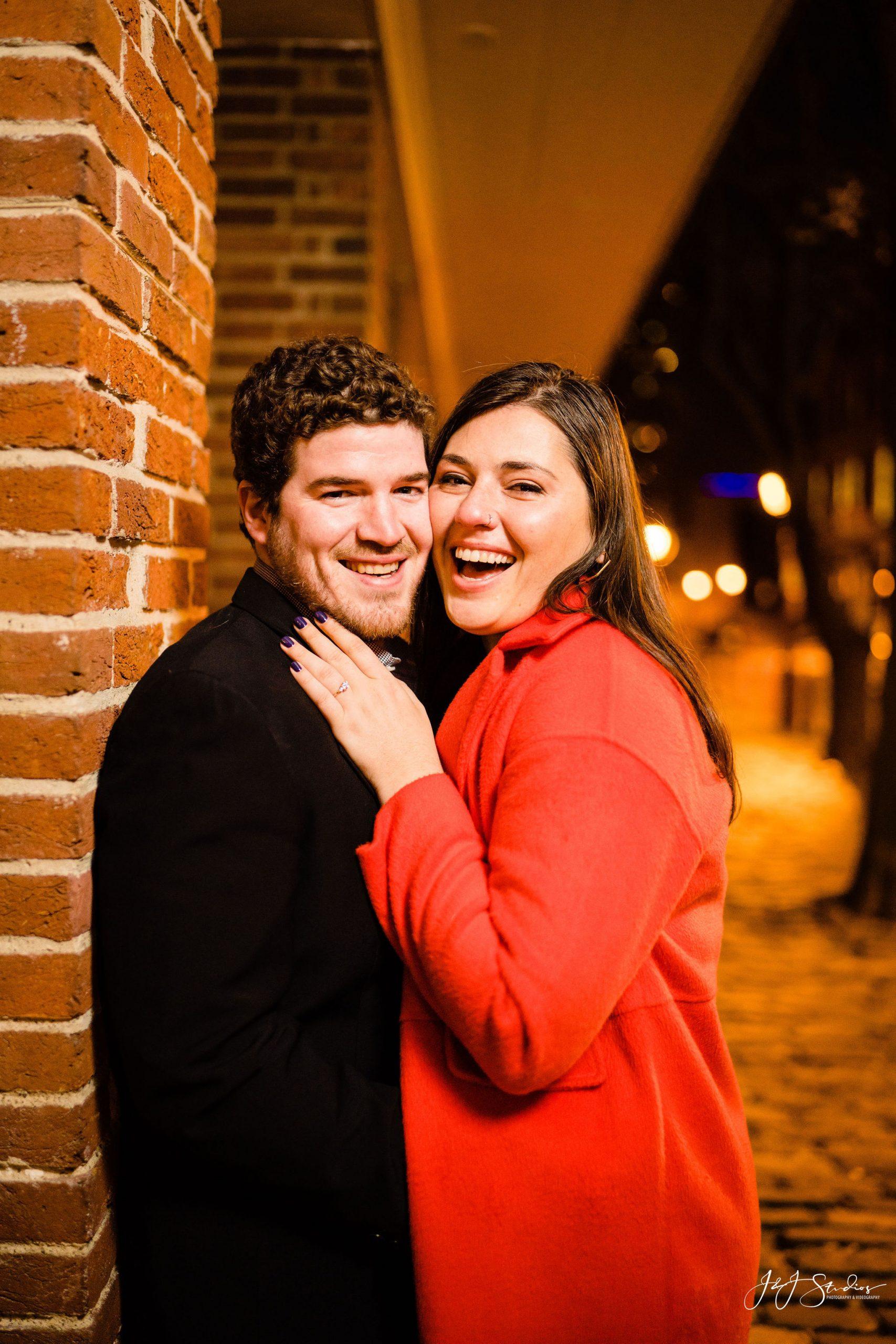 laughing engaged surprise proposal