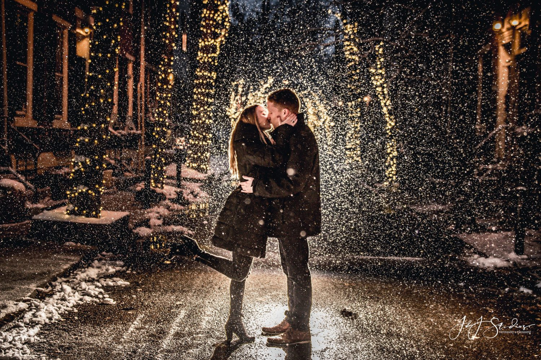 Romantic kiss between man and woman
