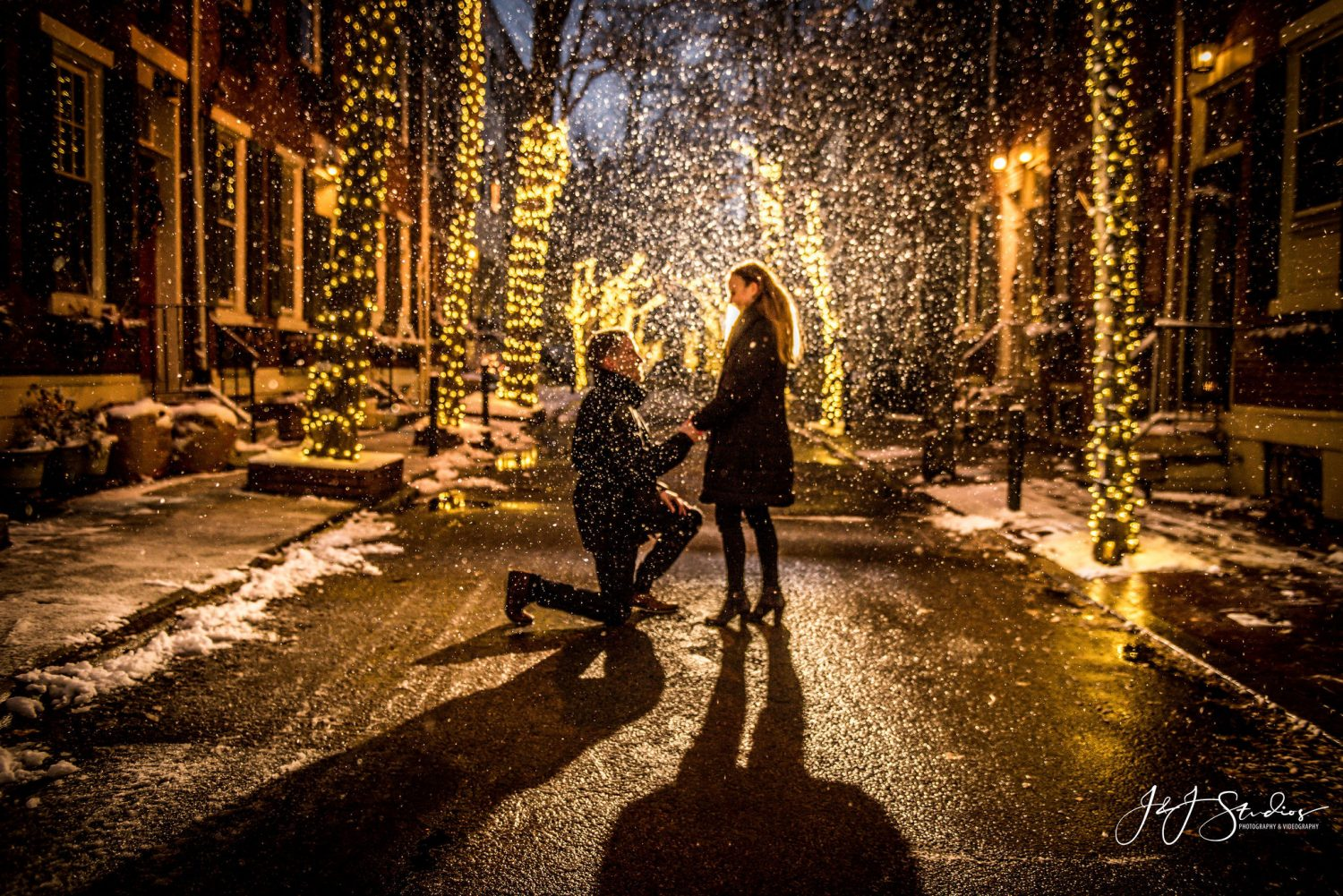 Zach on one knee Christmas Proposal