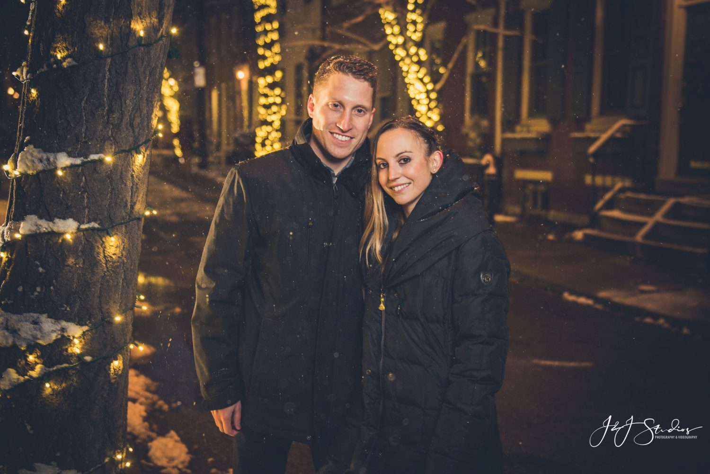 Smiling couple Christmas Proposal