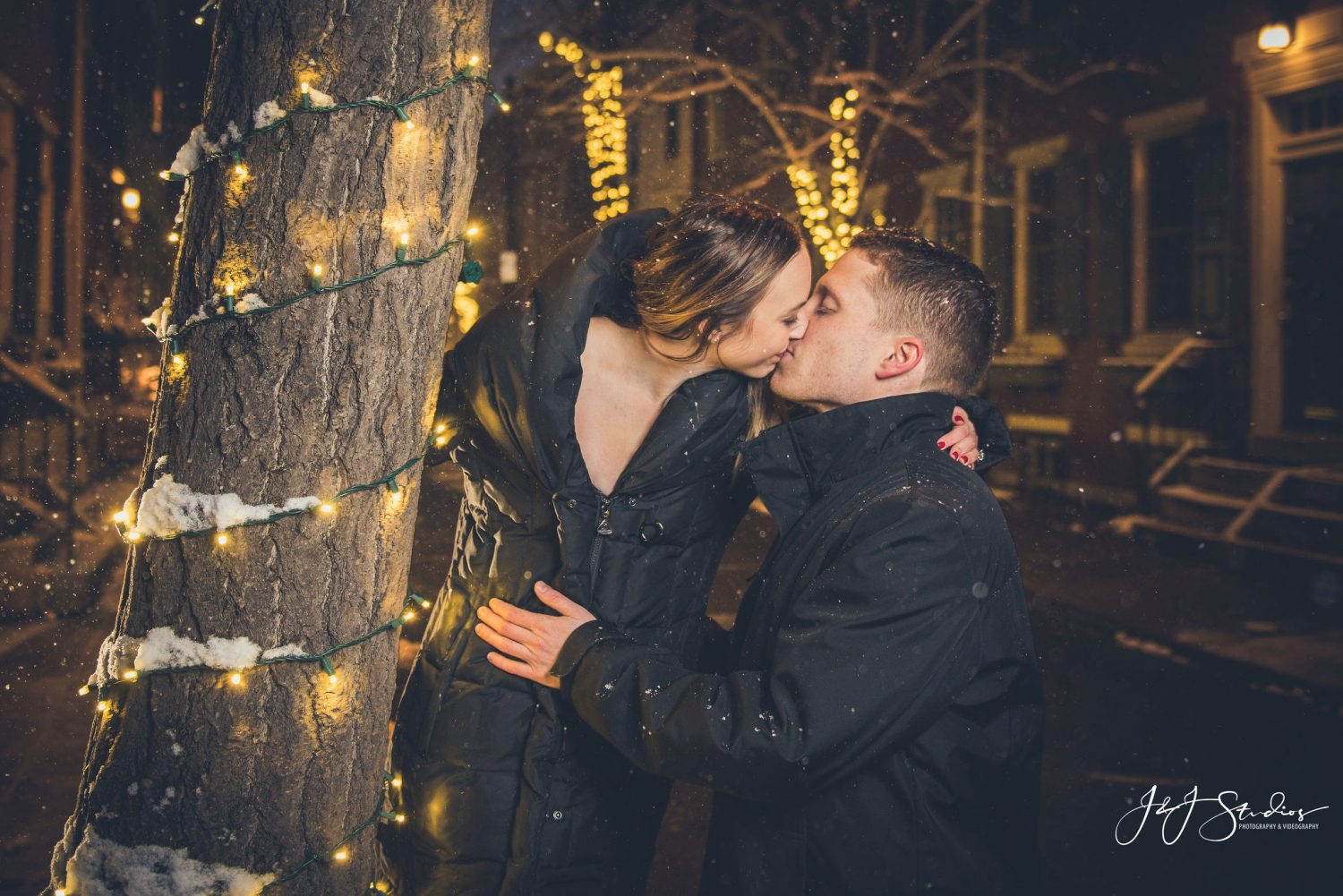 Passionate kiss between couple