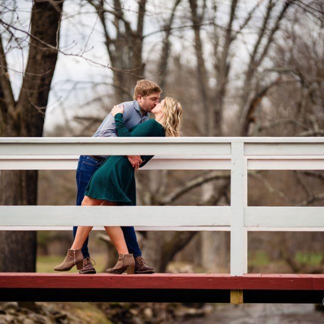 kiss dip bridge couple