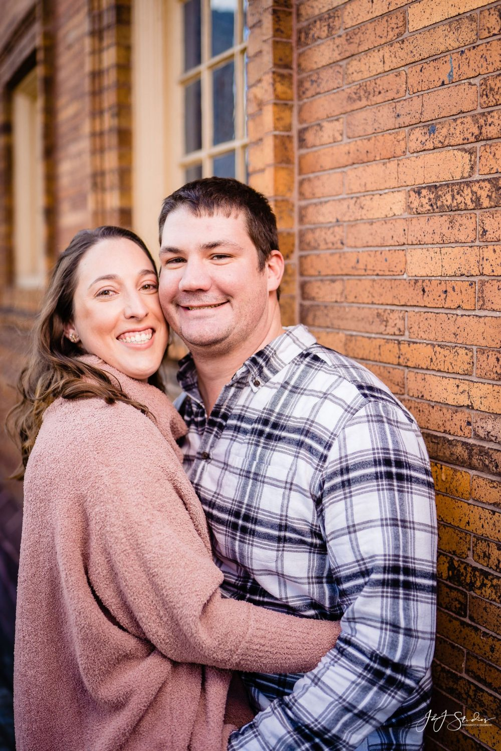 Smiling man and woman Boathouse Row Engagement Session