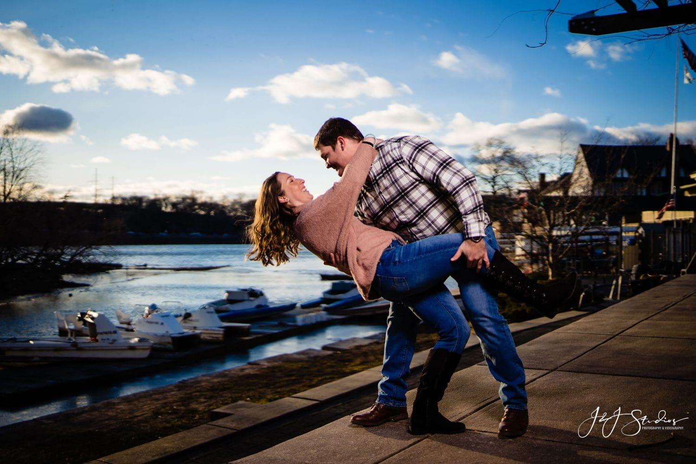 Smiling couple Boathouse Row Engagement Session