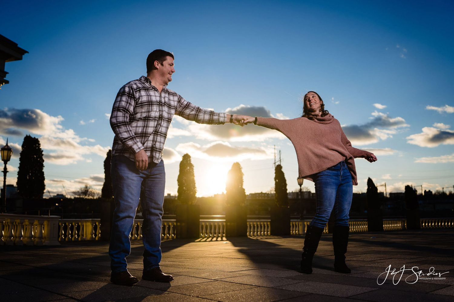 Hand in hand Boathouse Row Engagement Session