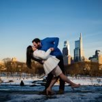 Romantic engagement kiss