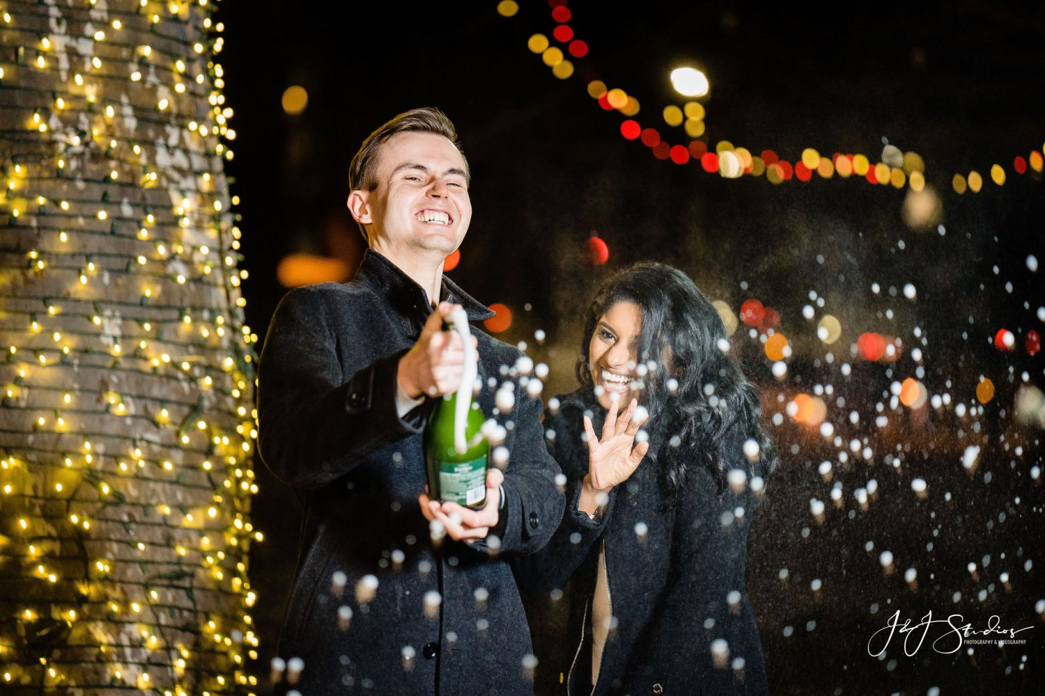 Popping bottles during Franklin Square Surprise Proposal