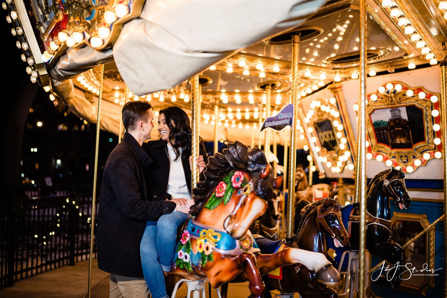 Franklin Square Surprise Proposal  merry go round