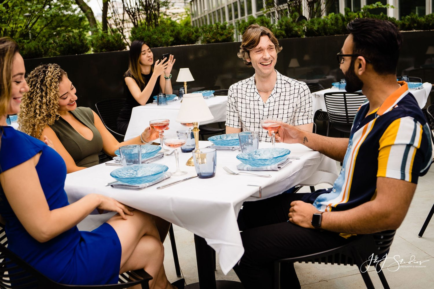 people laughing at restaurant photography