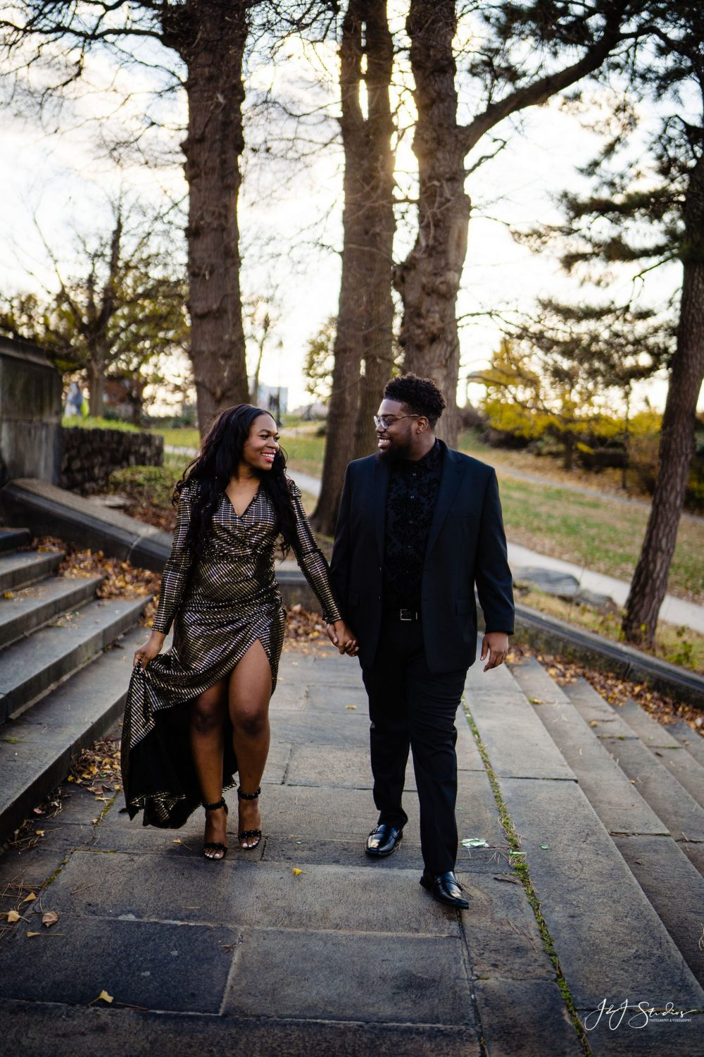 formal outdoor engagement photos