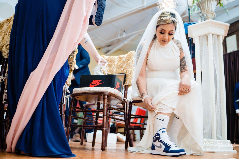 Bride changes shoes