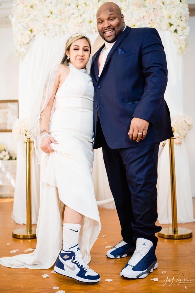 Bride and groom fun in sneakers Philadelphia Wedding Chapel