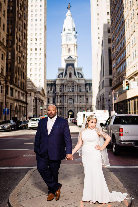 Groom and bride City Hall Philadelphia