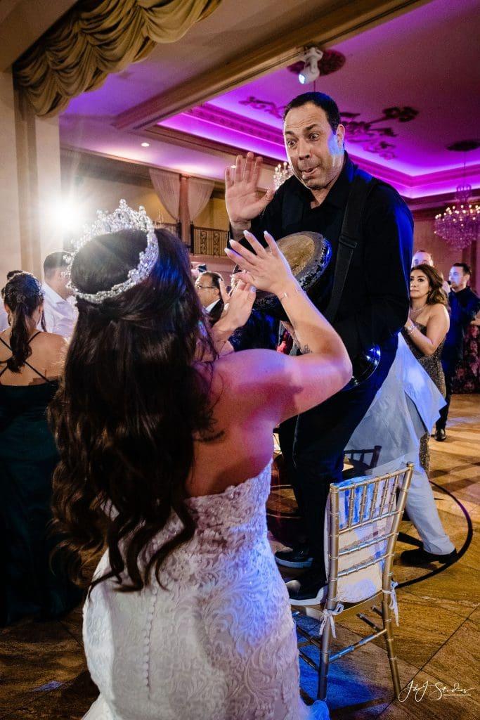 bride playing drum
