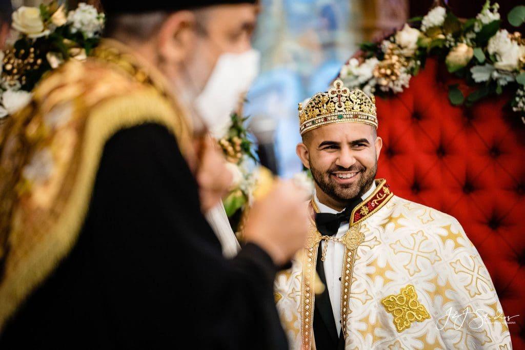 happy groom coptic church wedding