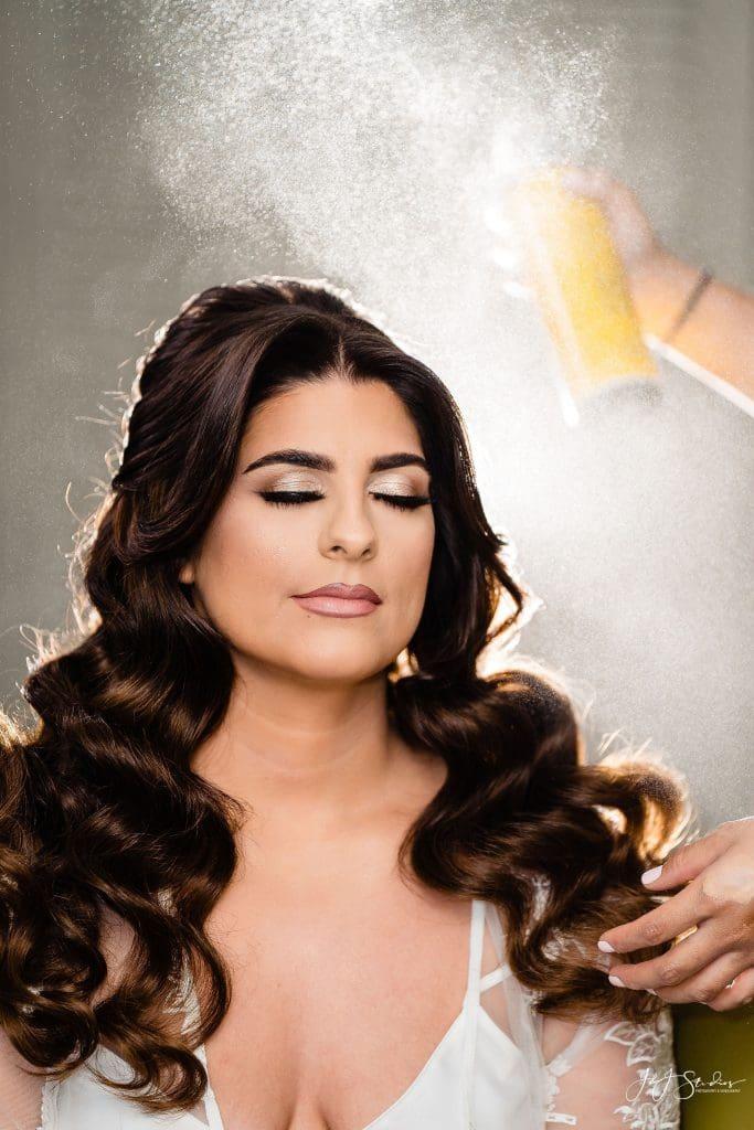 bride hairspray makeup