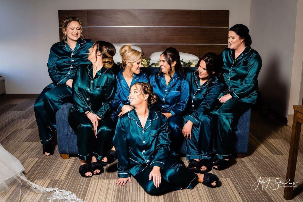 bridesmaids silk pajamas dark green