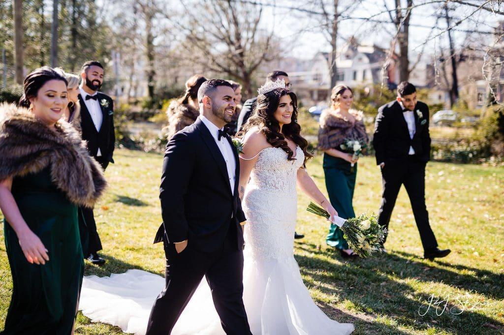 wedding party furs walking