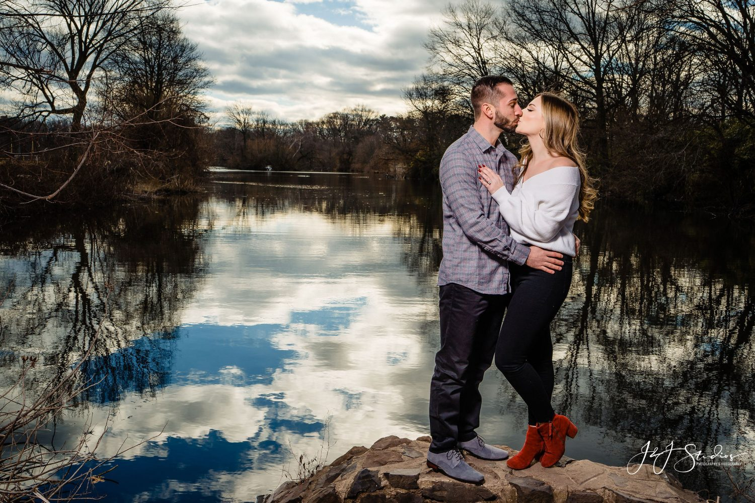 kiss by a pond