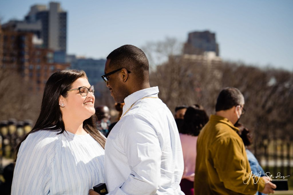 sweet happy engaged couple rocky steps pa