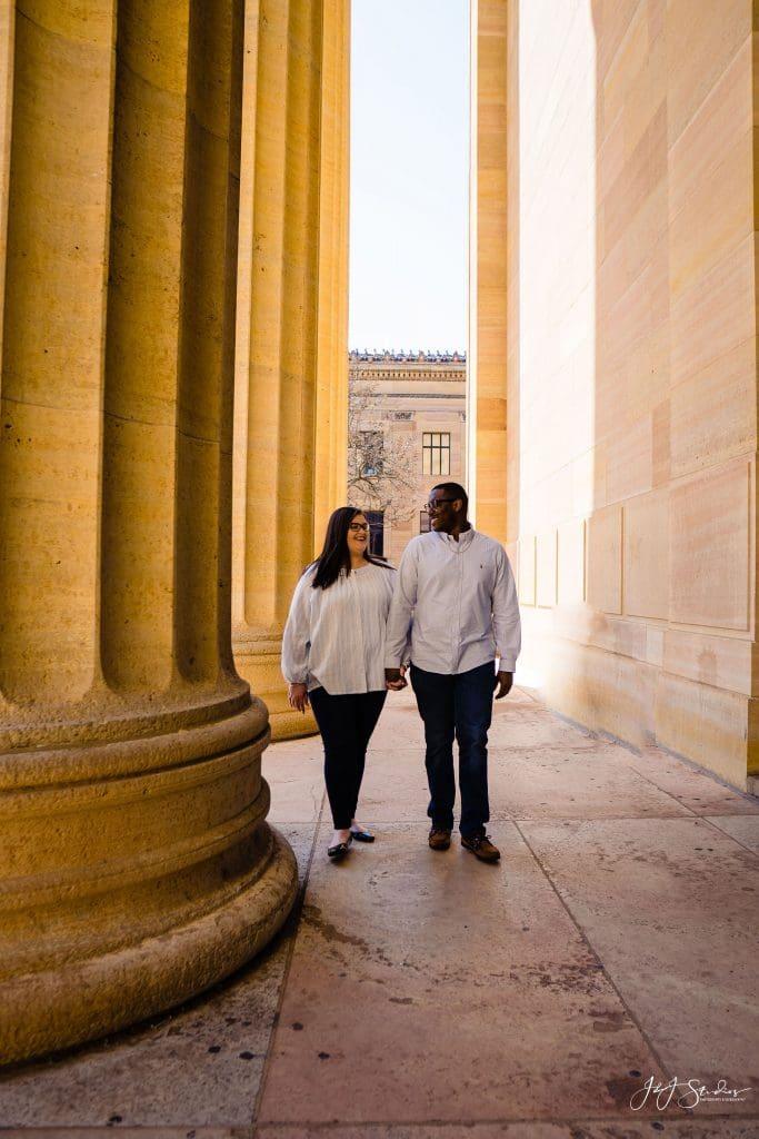 Philadelphia Museum of Art columns engagement photo